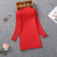 Sleek and Sophisticated Red Knitted Dress