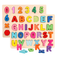 Kids Wooden 3D Alphabet and Number Puzzles