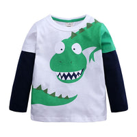 Long Sleeve Green Dinosaur T-Shirt