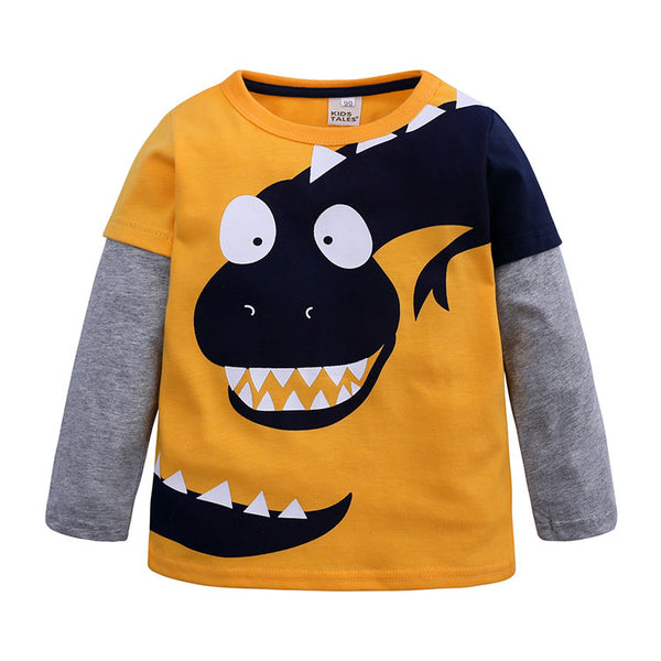 Long Sleeve Black Dinosaur T-Shirt