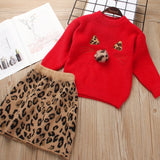 Kitty Cat Sweater with matching Leopard print skirt (2T-7Y)