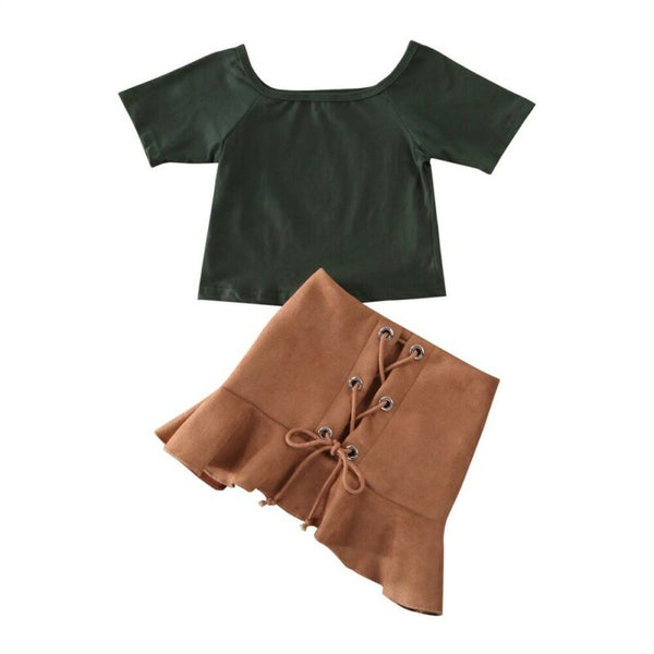 Two Piece Black Shirt and tied Skirt Outfit (12M-5T)