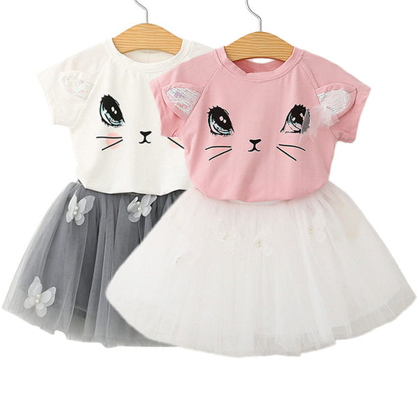 Kitty Cat shirts with Butterfly tutu skirts