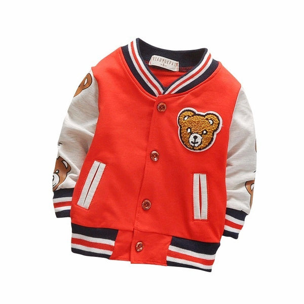 Teddy Bear Athletic Style Letter Jacket for Baby/Toddler