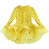 Long Sleeve Cable Knit Ballerina Dress (2T-8Y)