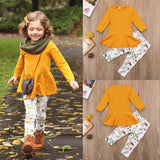 Autumnal Orange Ruffle Top with Floral Leggings Outfit (3T-7Y)