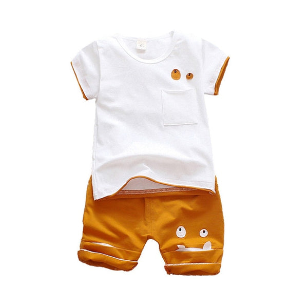 Little Monster white T-Shirt and orange Short Set