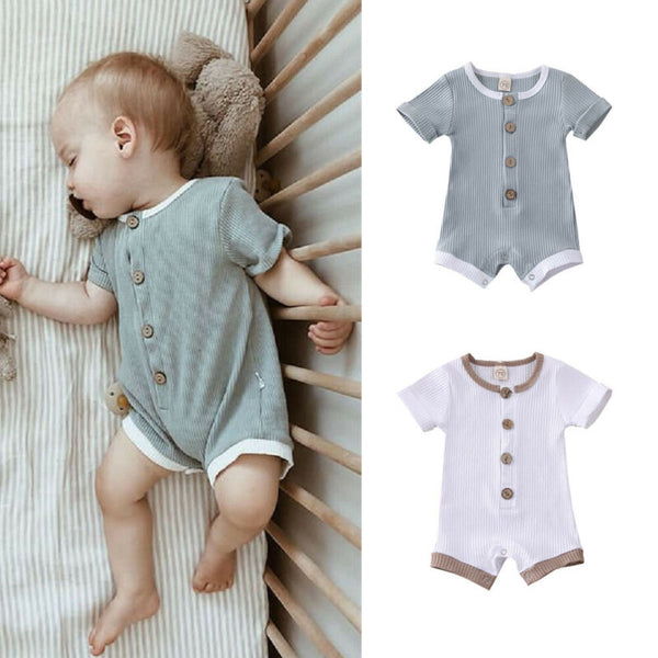 Lazy Day Button Ribbed Romper (6-18M)