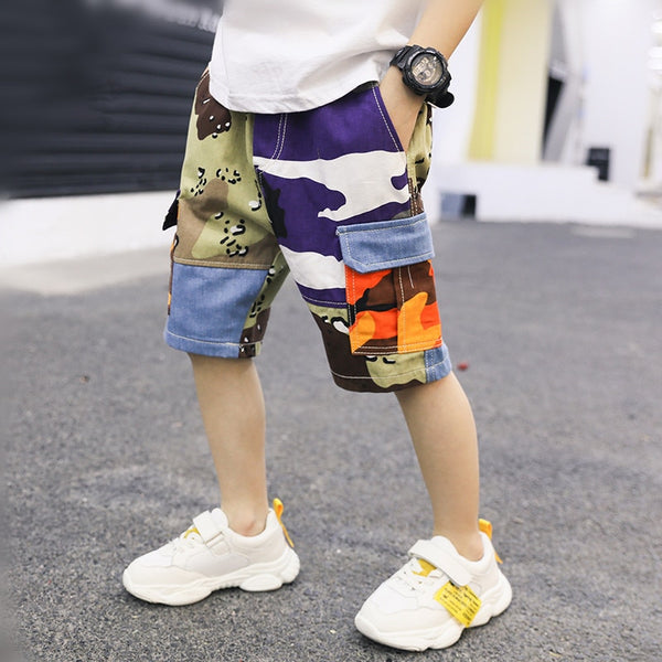 Colorful Camouflage Cargo Shorts (3T-14Y)
