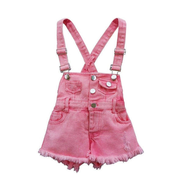 Pink Jean Short Cut Off Overalls