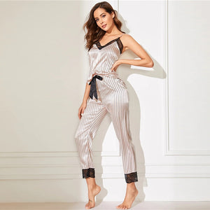 Trim Satin Cami Top And Striped Pants - DreamBoutiquee
