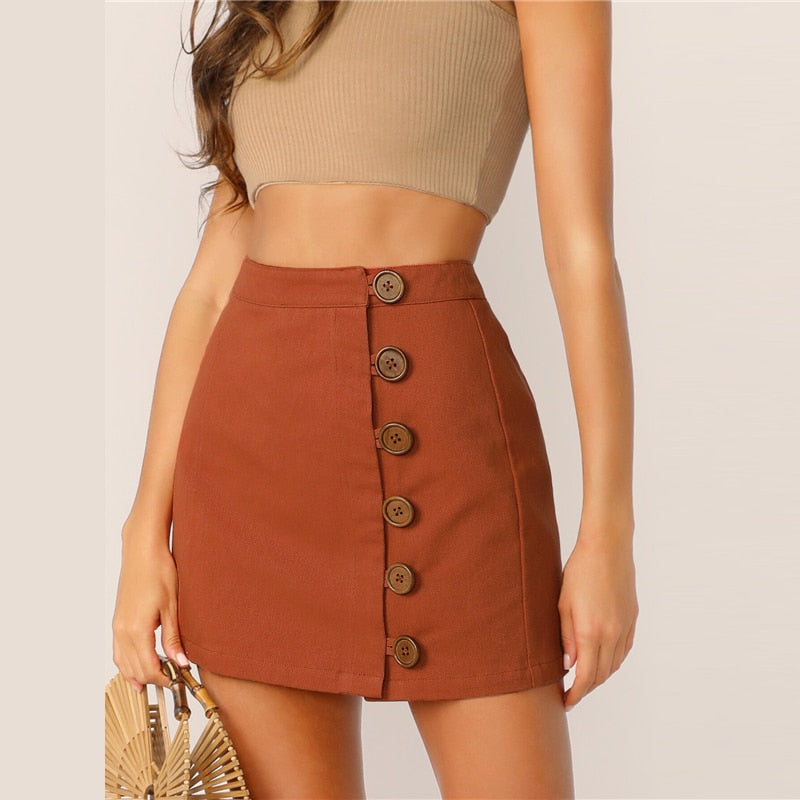 Brown Button Front Skirt - DreamBoutiquee