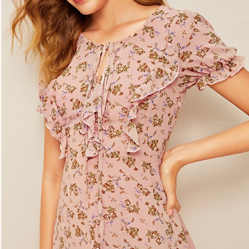 Floral Print Dress - DreamBoutiquee