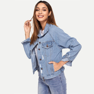 Collar Jeans Jacket - DreamBoutiquee