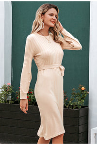 Elegant Sash belt Sweater Dress - DreamBoutiquee