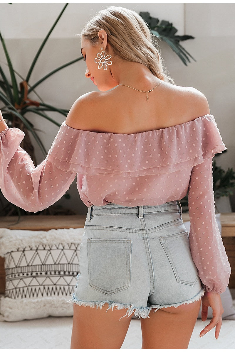 Off-Shoulder Ruffle Blouse - DreamBoutiquee