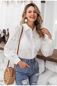 Flower Embroidery Cotton Blouse - DreamBoutiquee