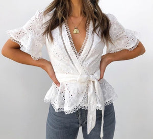 Chic Lace Trims Embroidery Blouse - DreamBoutiquee
