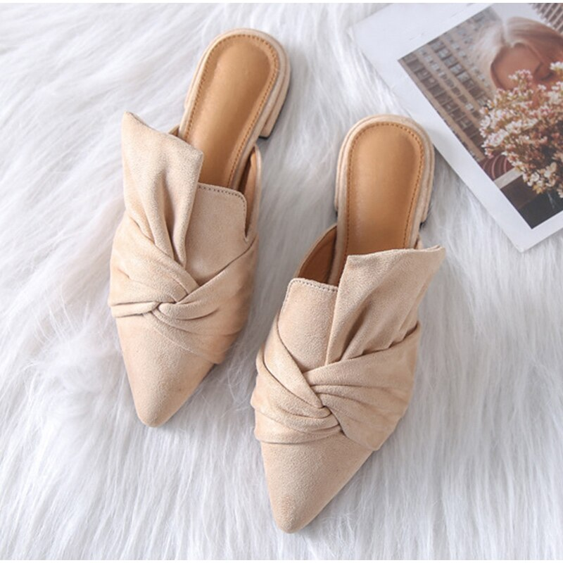 Suede Slide Flock Slippers - DreamBoutiquee