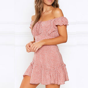 Off Shoulder Printed Pleated Stitching Dress - DreamBoutiquee