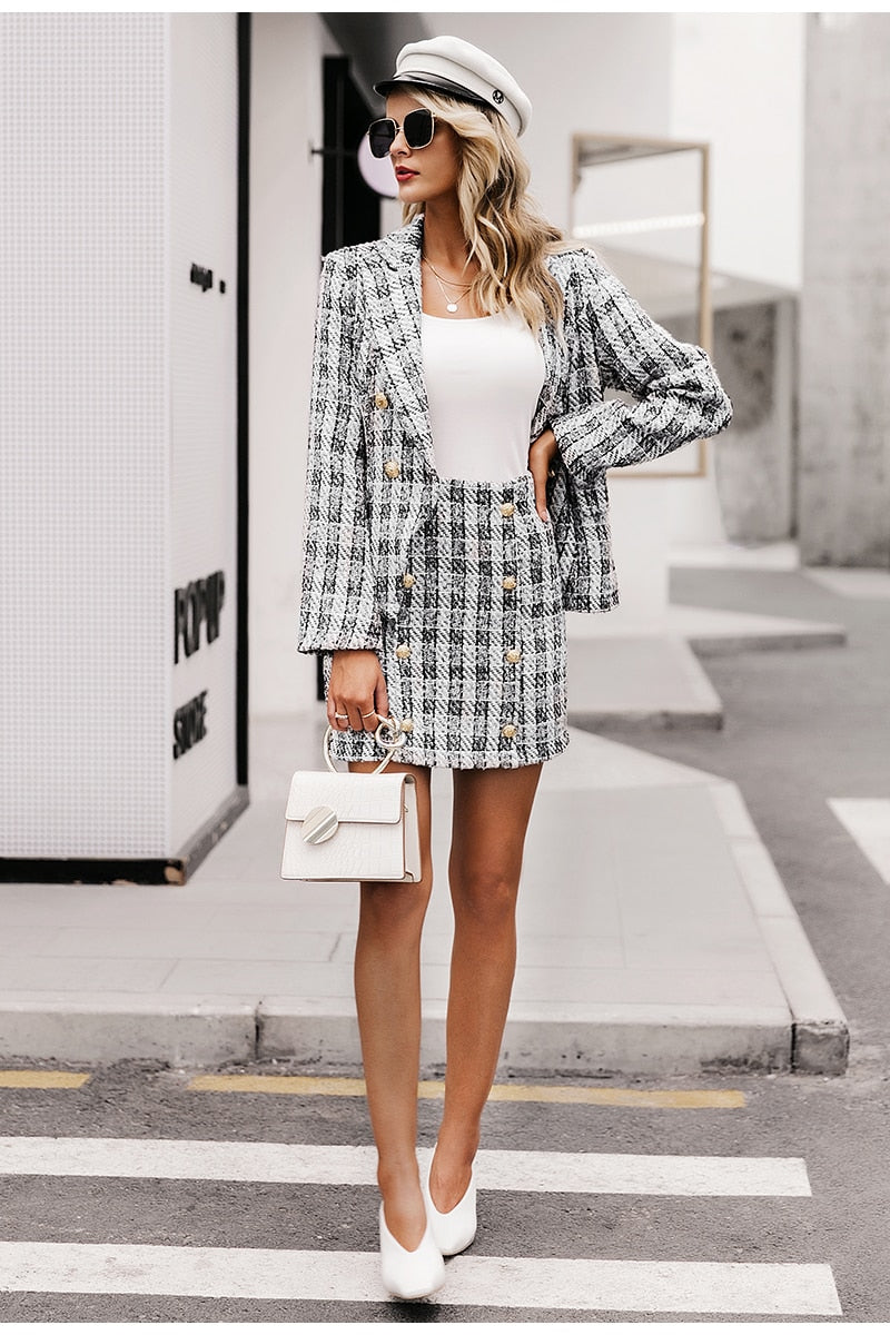 Plaid Two-pieces Skirt Suit - DreamBoutiquee