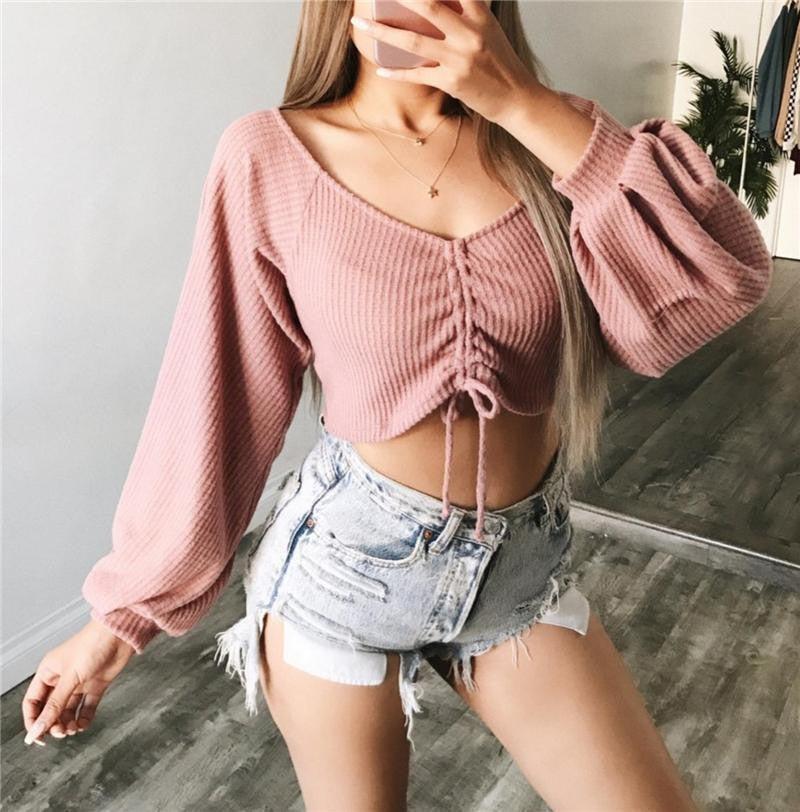 Casual Long Sleeve Crop Top - DreamBoutiquee