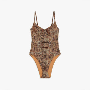 Snake Print One Piece Bikini - DreamBoutiquee