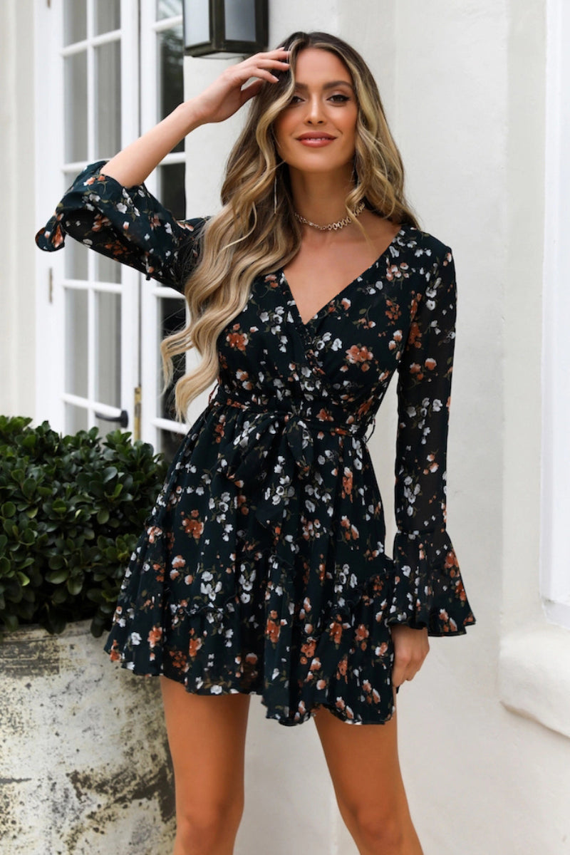 Ladies V-Neck Short Dresses - DreamBoutiquee
