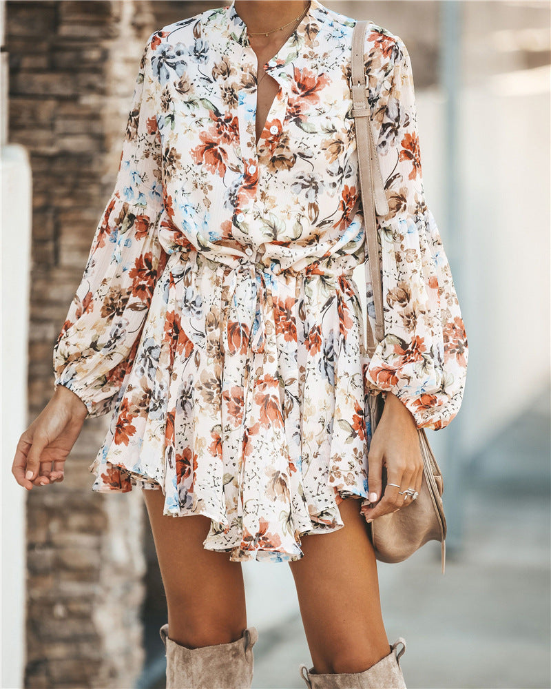 Mini Vintage Print Irregular Dress - DreamBoutiquee