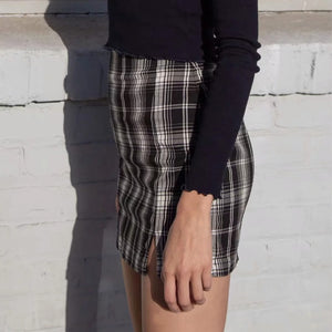 Plaid Print Mini Skirt