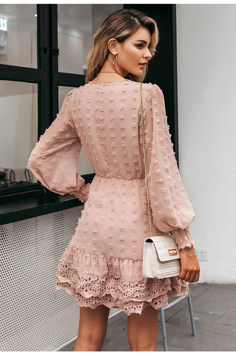 Chic Embroidery Dots Dresses - DreamBoutiquee