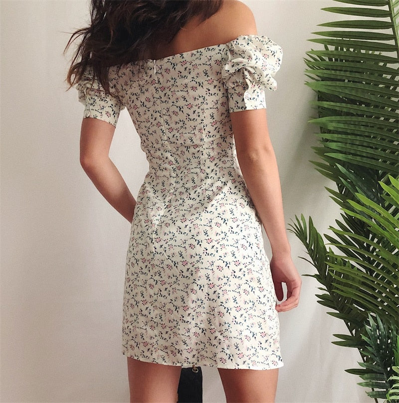 Floral Mini Sexy White Dress - DreamBoutiquee