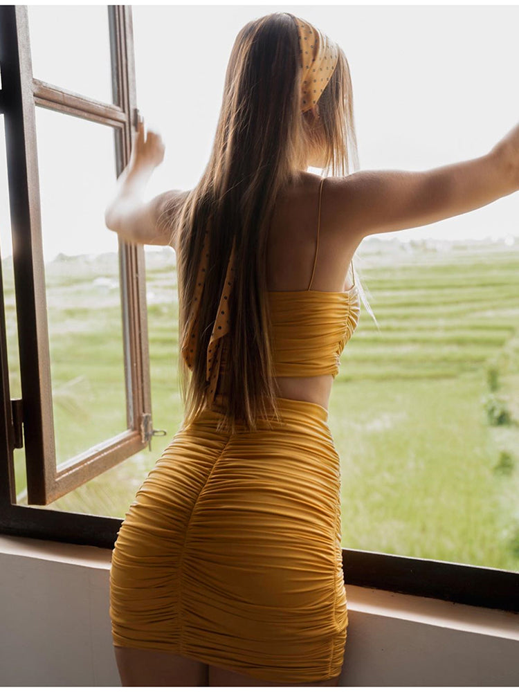 Ruched Sexy Backless Dress