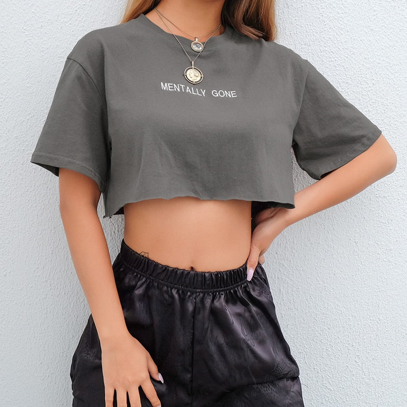 Embroidery Letter Basic Crop T Shirt
