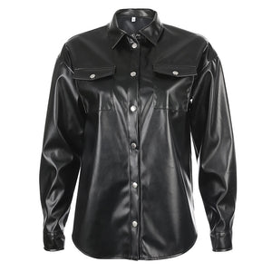 Streetwear Black PU Leather Blouse