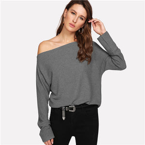 Off the Shoulder Knitted Sweater - DreamBoutiquee