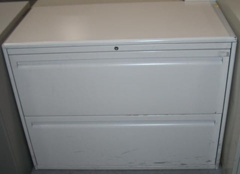 White Haworth Two Drawer Lateral File