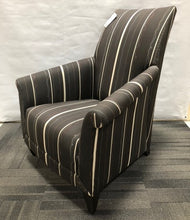 David Edward Chair in Dark Grey/Striped Fabric