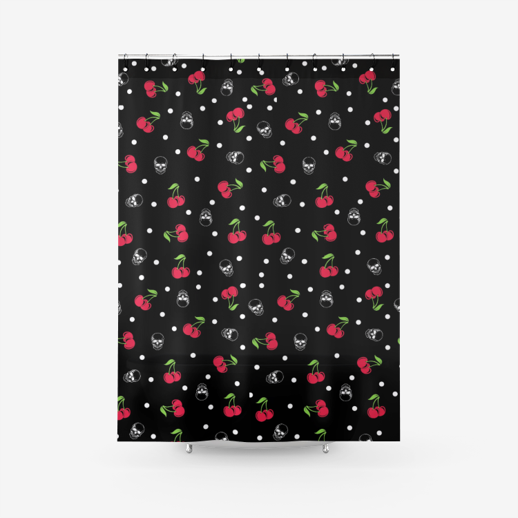 Cherry skull Shower curtain