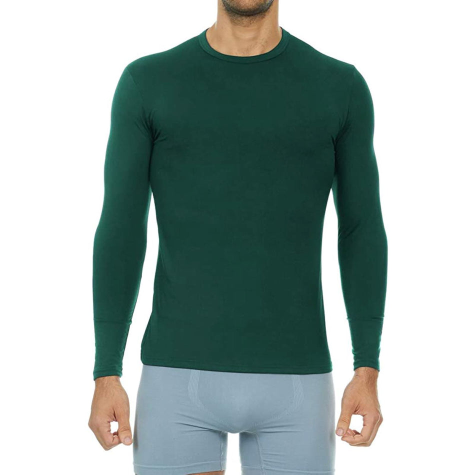 Men's Ultra Soft Thermal Baselayer Shirt Thermaltopsmen Thermajohn Hunter Green XS