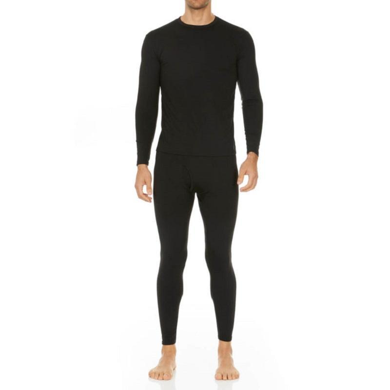 Men's Ultra Soft Thermal Underwear Set Thermalsetmen Thermajohn Black XS