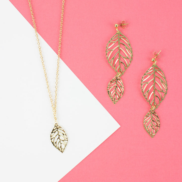 Gold Leaf Earrings and Necklace DIY