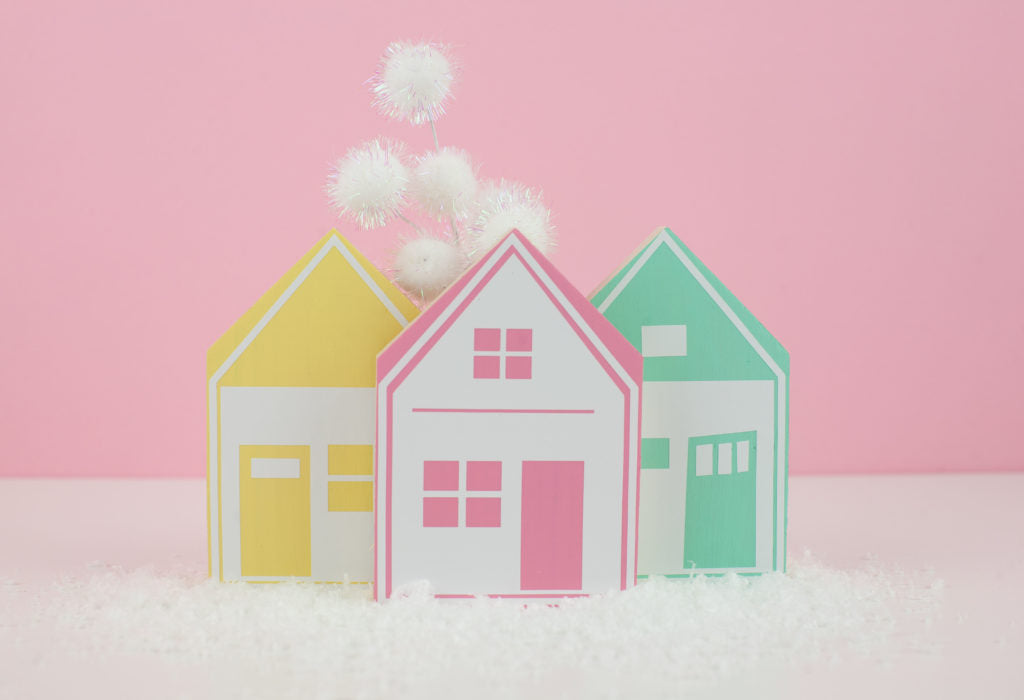 DIY Colorful Double-Sided Village
