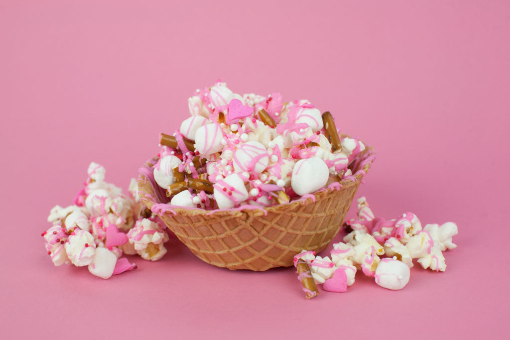 Chocolate Drizzle Waffle Popcorn Bowl . For the Love of popcorn .