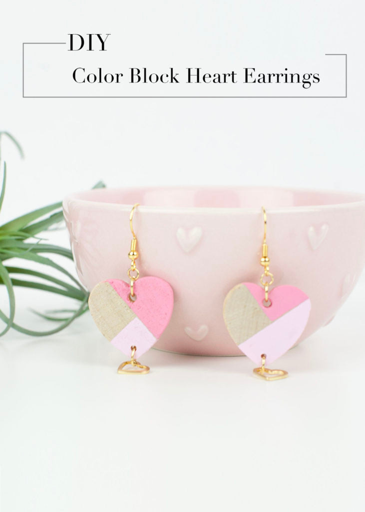 DIY Color Block Heart Earrings. These Valentine cards are so cute!