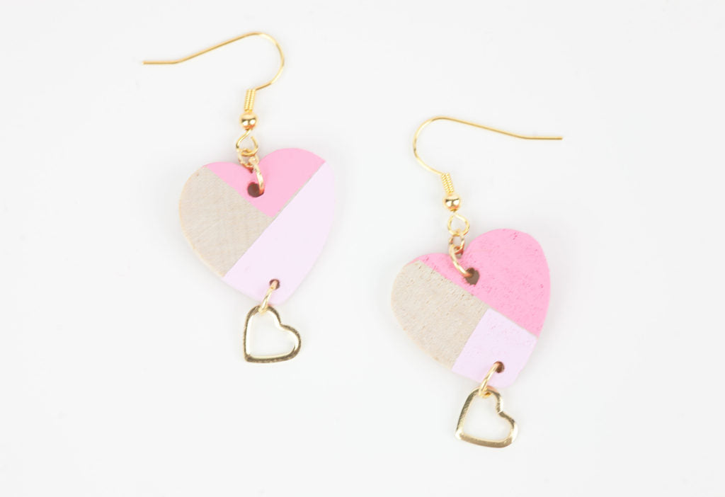 DIY Color Block Heart Earrings.