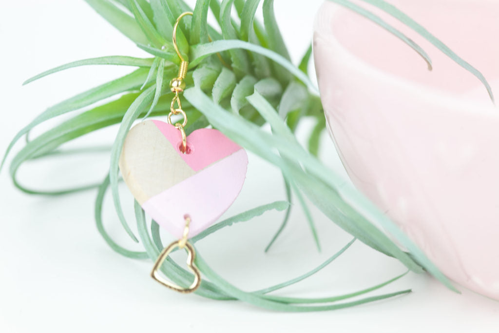 DIY Color Block Heart Earrings. Make these just in time for Valentines Day!