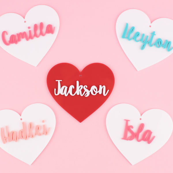 Personalized Acrylic Name Tags | Customized Name Tags | Heart