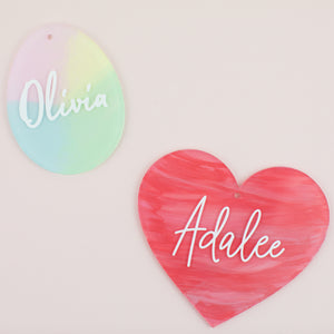 Personalized Painted Acrylic Name Tags | Customized Name Tags | Egg | Heart | Easter