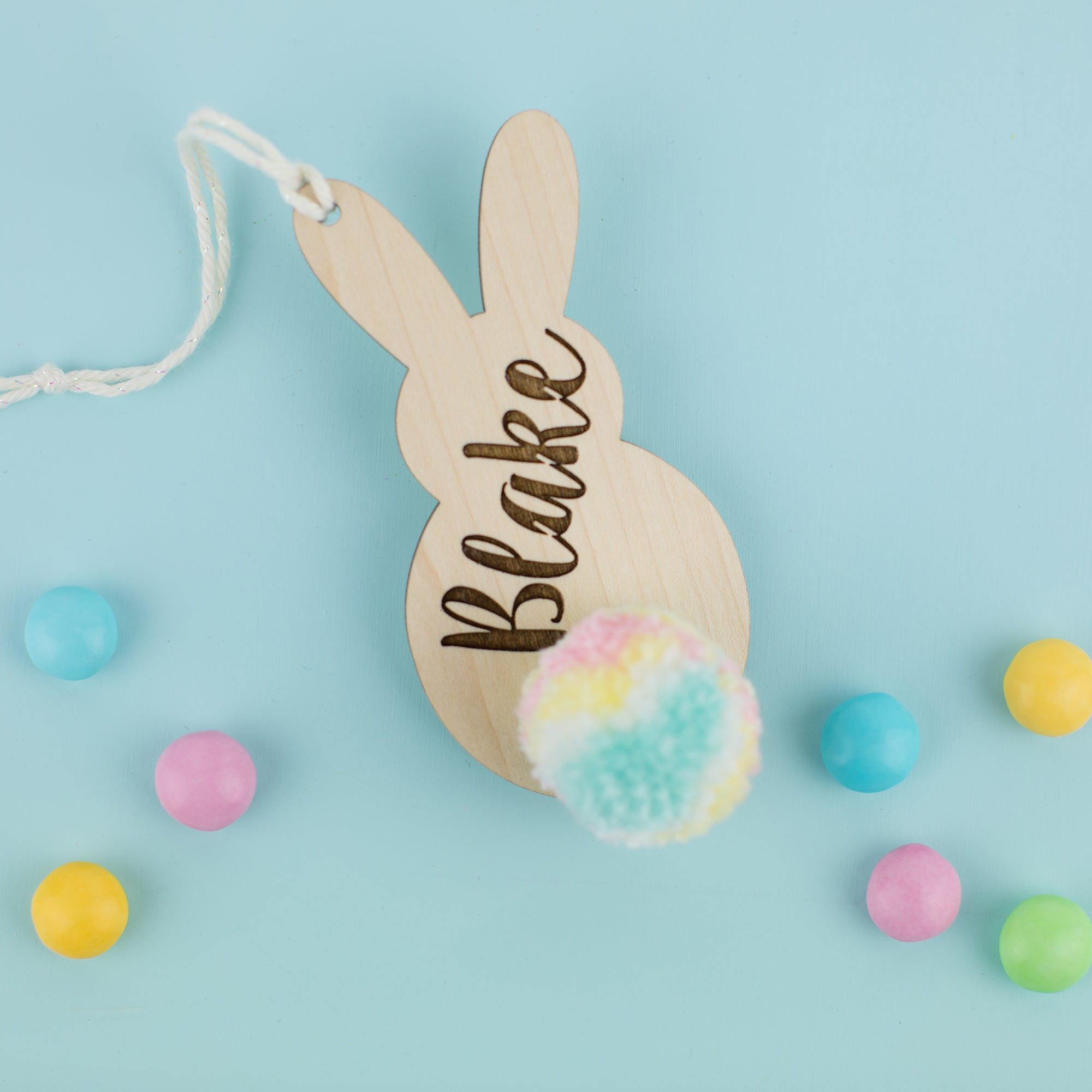 Personalized Wooden Bunny Hang Tag